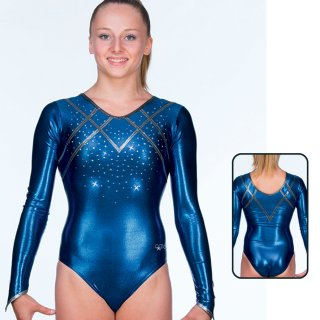 AGIVA 8628 Langarm Gymnastikanzug Metallic F: navy/grey + Strass *TOP*